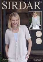 Sirdar Summer Linen DK - 8135 Cardigan with draped fronts Knitting Pattern